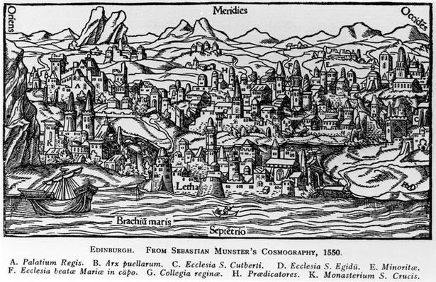 Edinburgh, illustration from Sebastian Munster's 'Cosmographia', 1550