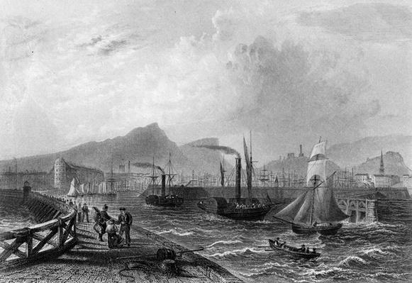 Leith Pier and Harbour, engraved by Robert Wallis, c.1820