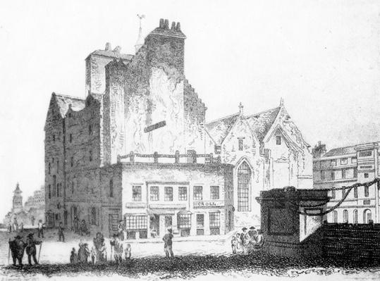The Old Tolbooth of Edinburgh, showing the beam upon which criminals were executed, c.1817
