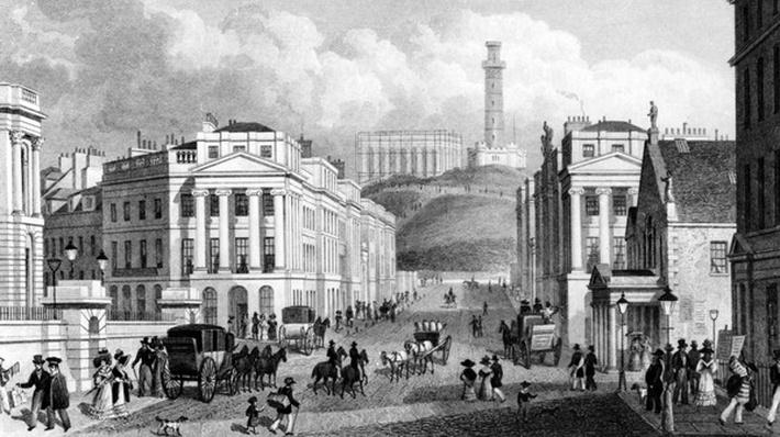 Waterloo Place, The National and Nelson's Monuments and Calton Hill, Edinburgh, engraved by Thomas Barber, 1829
