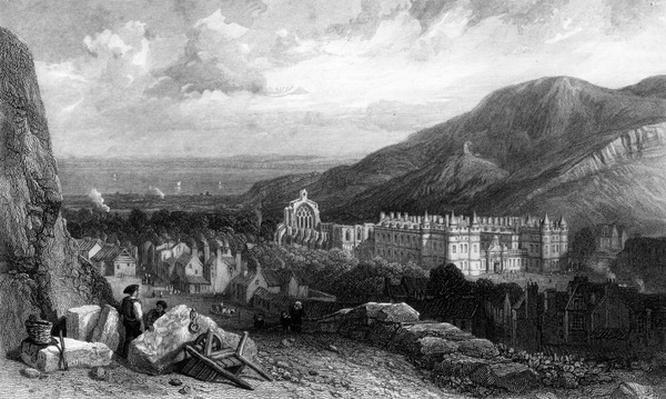 Holyrood from the Calton-Hill, engraved by William Miller, 1842