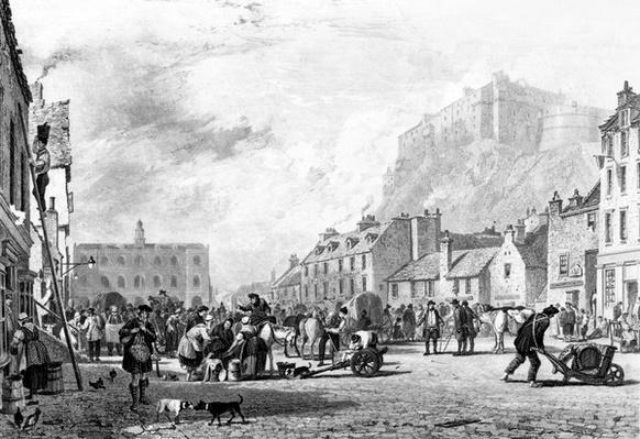 The Castle from the Grass Market, Edinburgh, etched by George Cooke and Henry Le Keux, 1820