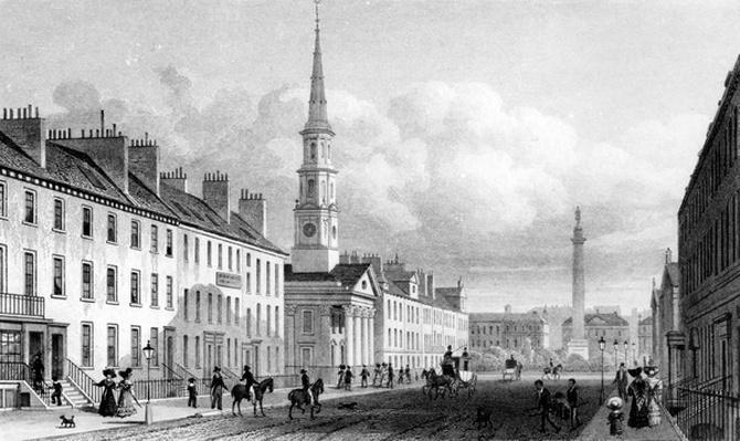 George Street, St. Andrew's Church and Lord Melville's Monument, Edinburgh, engraved by Thomas Barber, c.1830