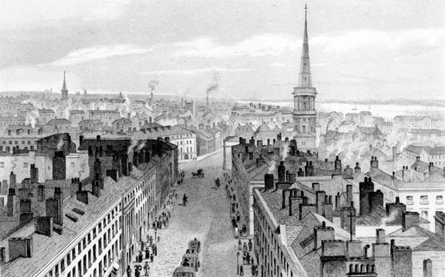 Liverpool from the Town Hall, looking south, engraved by John Rogers, c.1830