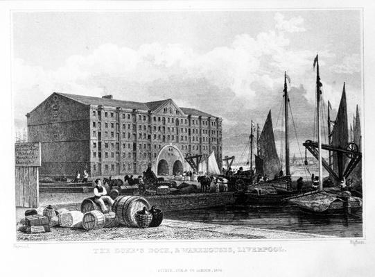 The Duke's Dock & Warehouses, Liverpool, engraved by Thomas Higham, 1829