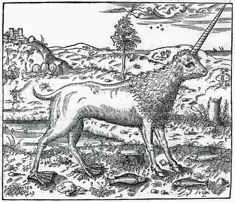 a Campchurch Unicorn, illustration from 'La Cosmographie universelle' by Andre Thevet, 1575