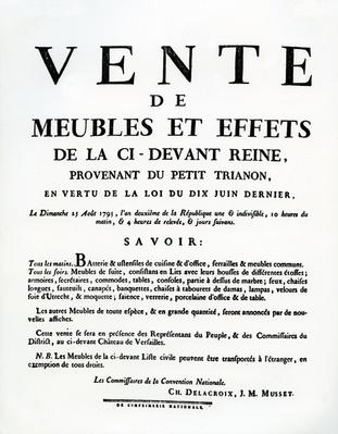 Poster advertising the sale of Marie-Antoinette's furniture and effects on the 25th August, 1793