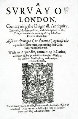 Title page to 'A Survey of London' by John Stow, published in 1598