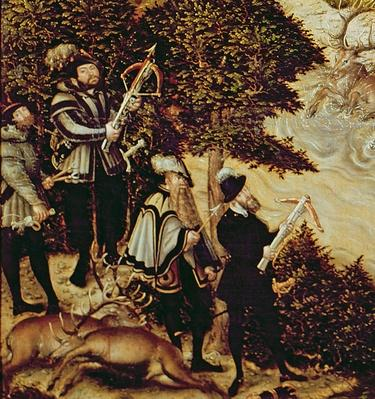 Johann Friedrich the Magnanimous, Elector of Saxony and Emperor Charles V hunting deer near Hartenfels Castle, Torgau, 1544