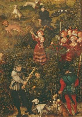 The Electress Sybille of Saxony preparing to shoot with her crossbow at the Hunt in Honour of Emperor Charles V near Hartenfels Castle, Torgau, 1544