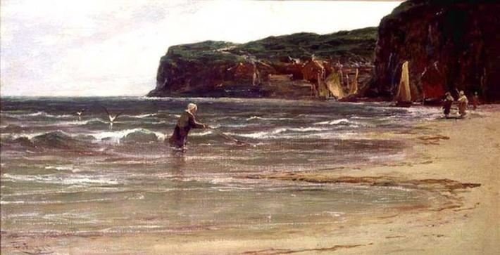Coastal View with Woman Shrimping, c.1900