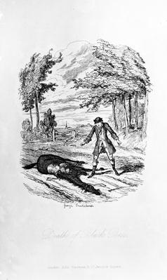 Death of Black Bess, illustration from 'Rookwood' by William Harrison Ainsworth, published 1836