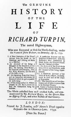 Title Page for 'The Genuine History of the Life of Richard Turpin, The noted Highwayman', by Richard Bayes, published 1739