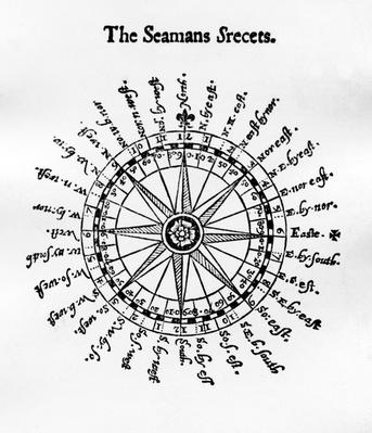 Compass, illustration from 'The Seaman's Secrets' by John Davis, published 1594