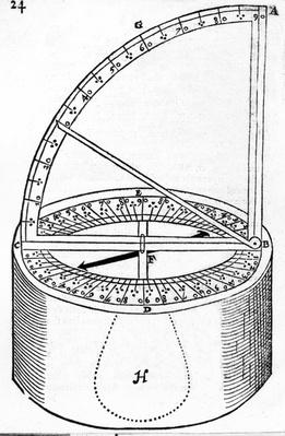Navigational Instrument invented by Reginaldus Petraeus, illustration from 'The Haven-Finding Art' by Simon Stevin, published 1599