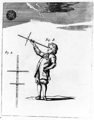 The Figure of the Cross-Staff, illustration from 'A New Systeme of the Mathematicks' by Jonas Moore, published 1681