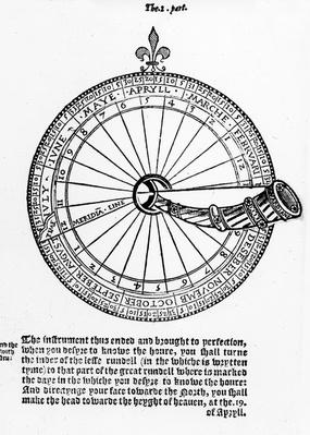 Diagram of a Nocturnal, illustration from 'The Art of Navigation', by Martin Cortes, translated into English by Richard Eden