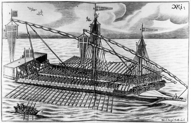 Warship, illustration from 'Architectura Martialis' by Joseph Furrtenbach, published 1629