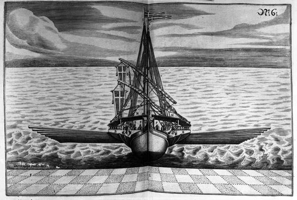 Front View of a Warship with Two Masts, illustration from 'Architectura Martialis' by Joseph Furrtenbach, published 1629