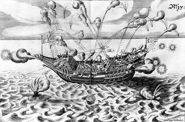 Warship, illustration from 'Architectura Martialis', published 1629