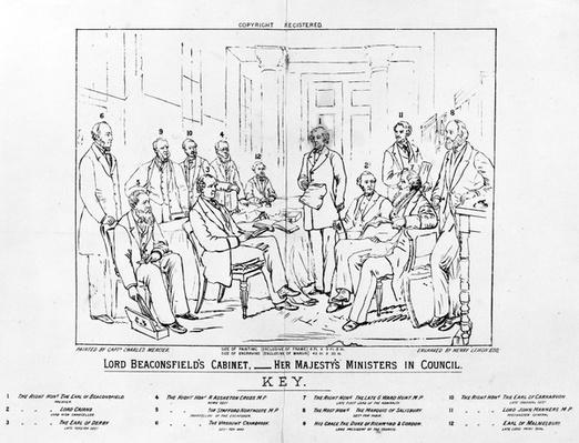 Lord Beaconsfield's Cabinet 1874 - Her Majesty's Ministers in Council, print made by Henry Lemon, 1880