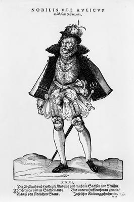 A Nobleman from Misnia & Saxonia, illustration from 'Trachtenbuch' by Hans Weigel, published 1577