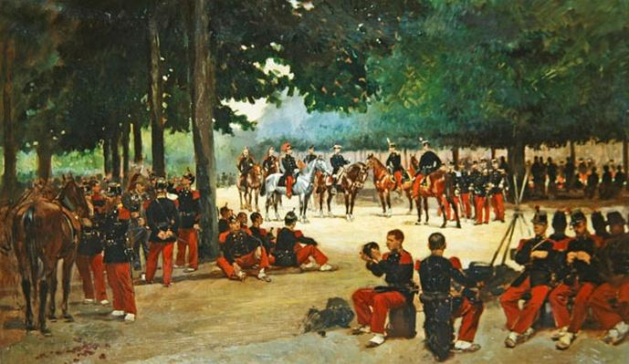 Infantry regiment relaxing on the Bois de Boulogne during a review, c.1885