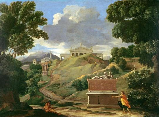 Landscape with classical ruins and Etruscan sarcophagus, c.1634