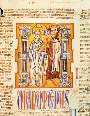 Ms 354 fol.9 Miniature of a bishop and king from the 'Decretum Gratiani', 14th century by French School, (14th century)