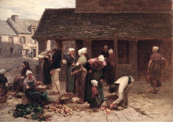 The Market Place of Ploudalmezeau, Brittany, 1877