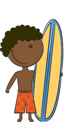 Happy Kids on the Beach - Surfboard | Clipart