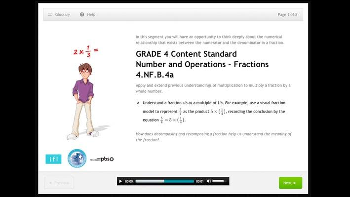 Apply and extend previous understandings of multiplication to multiply a fraction by a whole number - Grade 4 - 4.NF.B.4a