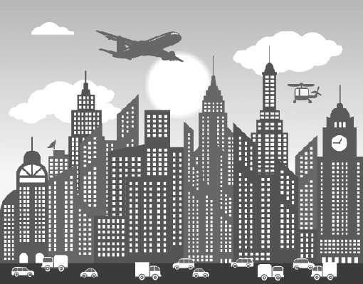 Cities - Black & White Skyline | Clipart