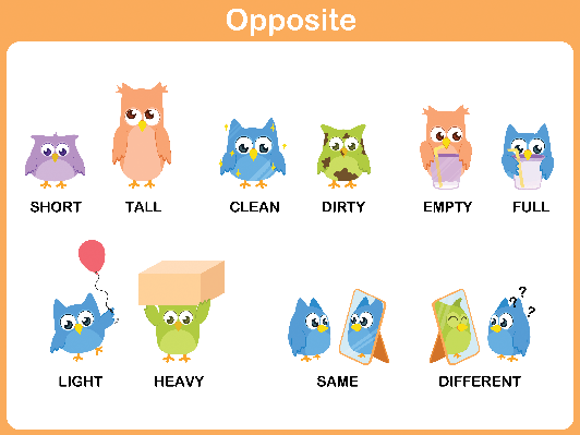 Word for Preschool: Opposite (#1) | Clipart