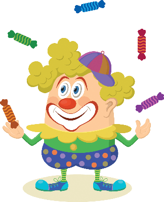 Circus Clown Juggling Candies | Clipart