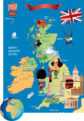 Cartoon Map of UK | Clipart