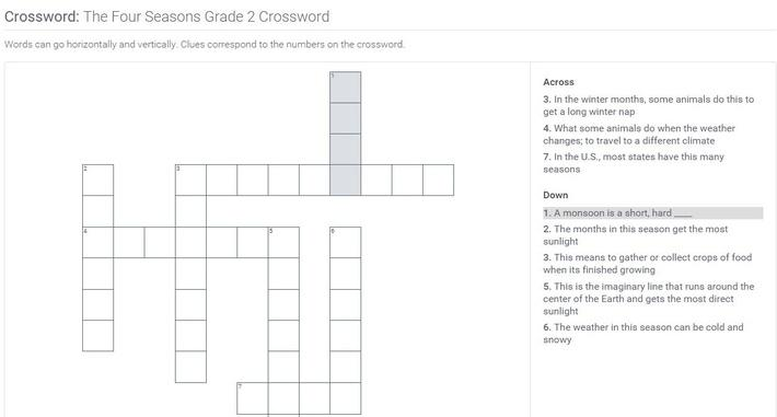 The Four Seasons | Grade 2 Crossword