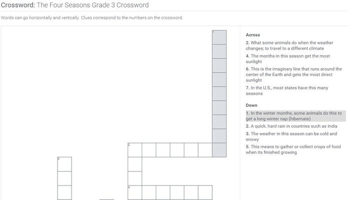 The Four Seasons | Grade 3 Crossword