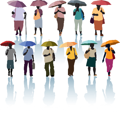 People With Umbrellas | Clipart