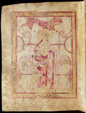 St. Mark enthroned with his lion, title page to St. Mark's Gospel, from the Lichfield Gospels, c.720