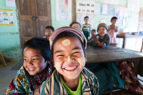 Smiling children at local primary school | Conflicts: Burma