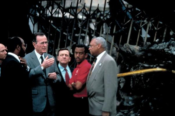 President George H.W. Bush Confers with Urban League President John Mack | U.S. Presidential Elections: 1992