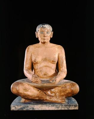 Crouching Scribe Statue, from Saqqara, Old Kingdom