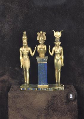 Osiris, Horus, Isis:The Triad of Osorkon II, reign of Osorkon II, c.874-850 BC