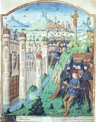 Ms 493 fol.1r The Works of Virgil with Commentary by Servius, The Bucolics, King sitting on his throne surrounded by his guards in front of a fortified town, France, 1469