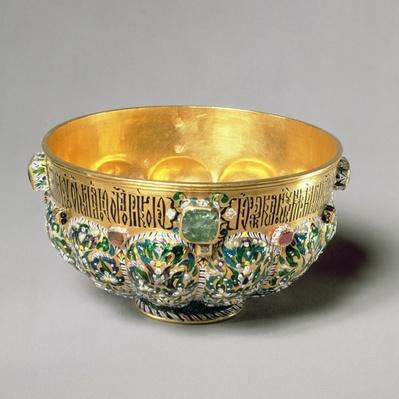 Embossed bowl set with cabouchon gems and polychrome decoration, 1653