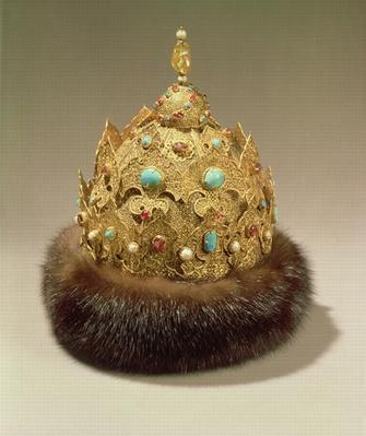 Crown of Karan, engraved gold set with jewels, fur trimming, niello and openwork, mid 16th century
