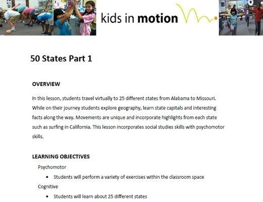 50 States Part 1 Lesson Plan