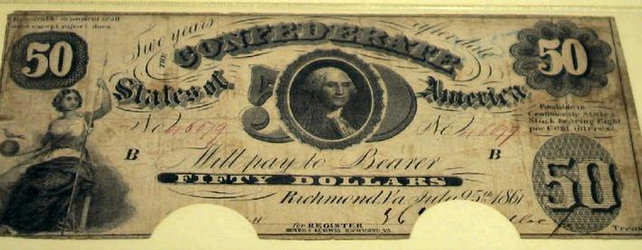a confederate 50 dollar bill featuring an image of George Washington
