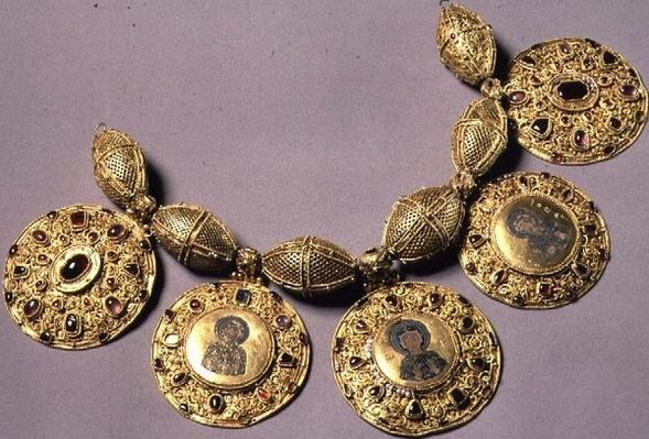 Medallions from 'Barmy Collar', with filigree, granulation and painted enamel decoration, Ryazan, 12th century